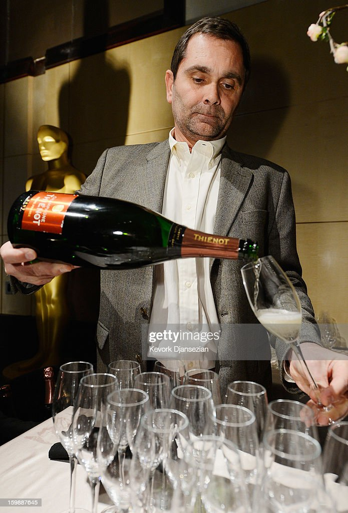 Francois Peltereau-Villeneuve, president and CEO of Champagne Thienot, pours a Thienot Rose during a preview of the 85th Academy Awards Governors Ball on January 22, 2013 in Hollywood, California. Academy governor Jeffrey Kurland, event producer Cheryl Cecchetto and Puck will return to create this year's Governors Ball, the Academy's official post-Oscar celebration, which will immediately follow the 85th Academy Awards ceremony on Sunday, February 24. The 1,500 guests include Academy Award winners and nominees, show presenters and other telecast participants.