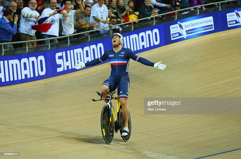 <a gi-track='captionPersonalityLinkClicked' href=/galleries/search?phrase=Francois+Pervis&family=editorial&specificpeople=227088 ng-click='$event.stopPropagation()'>Francois Pervis</a> of France celebrates as he wins gold in the Men's 1Km Time Trial Final during Day Three of the UCI Track Cycling World Championships at National Velodrome on February 20, 2015 in Paris, France.