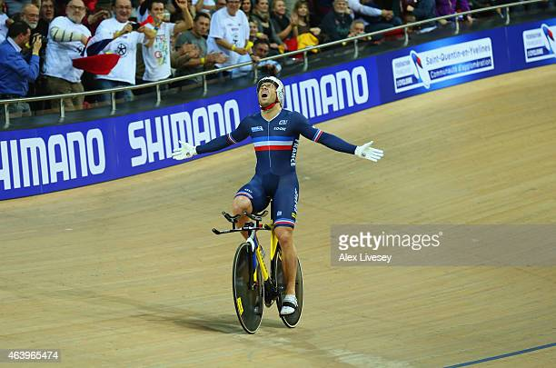 Francois Pervis of France celebrates as he wins gold in the Men's 1Km Time Trial Final during Day Three of the UCI Track Cycling World Championships...