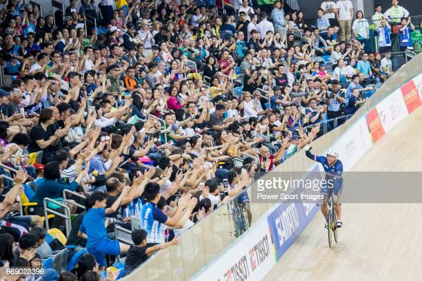 Francois Pervis of France celebrates winning in the Men's Kilometre TT Final during 2017 UCI World Cycling on April 16 2017 in Hong Kong Hong Kong