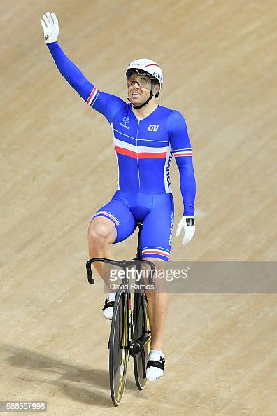Francois Pervis of France celebrates winning silver in the Men's Team Sprint Track Cycling Finals on Day 6 of the 2016 Rio Olympics at Rio Olympic...