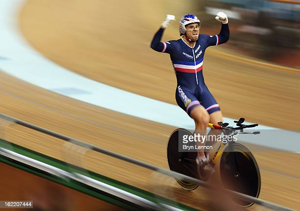 Francois Pervis of France celebrates winning the 1km Time Trial during day one of the UCI Track World Championships at the Minsk Arena on February 20...