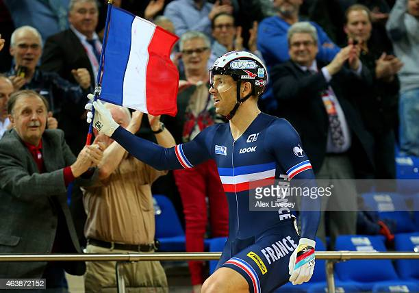 Francois Pervis of France celebrates winning the gold in Men's Keirin Final during day two of the UCI Track Cycling World Championships at the...