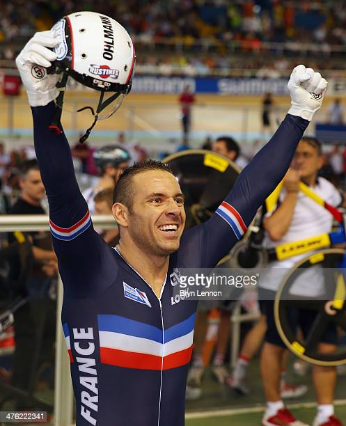 Francois Pervis of France celebrates winning the Men's Sprint during day five of the 2014 UCI Track Cycling World Championships at the Velodromo...