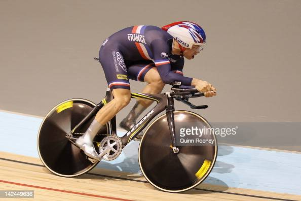 Francois Pervis of France competes in the Men's 1 km Time Trial during day two of the 2012 UCI Track Cycling World Championships at Hisense Arena on...