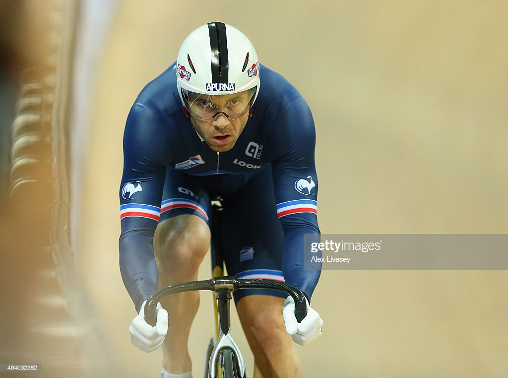 <a gi-track='captionPersonalityLinkClicked' href=/galleries/search?phrase=Francois+Pervis&family=editorial&specificpeople=227088 ng-click='$event.stopPropagation()'>Francois Pervis</a> of France competes in the Men's Sprint Qualifying during Day Four of the UCI Track Cycling World Championships at the National Velodrome on February 21, 2015 in Paris, France.