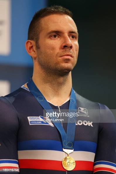 Francois Pervis of France finished 3rd in the Men's Keirin during day three of the 2013 European Elite Track Championship at Omnisport Apeldoorn on...