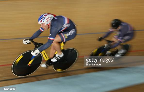 Francois Pervis of France leads team mate Michael D'Almeida in the Men's Team Sprint during day two of the UCI Track World Championships at the Minsk...