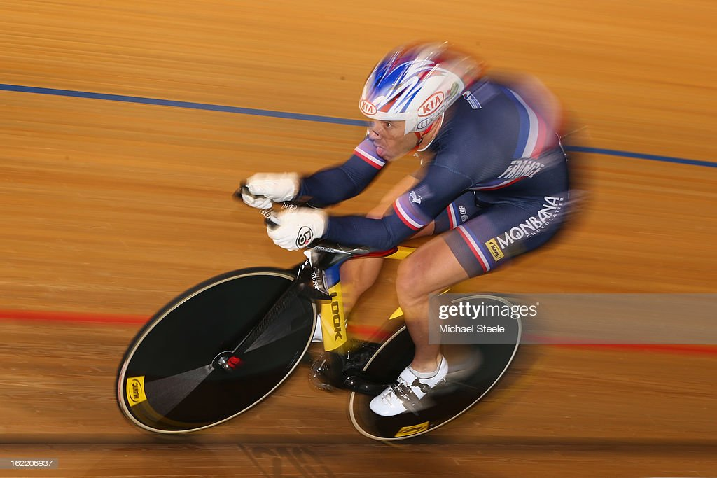 Francois Pervis of France on his way to winning gold in the men's 1km time trial during day one of the UCI Track World Championships at Minsk Arena on February 20, 2013 in Minsk, Belarus.