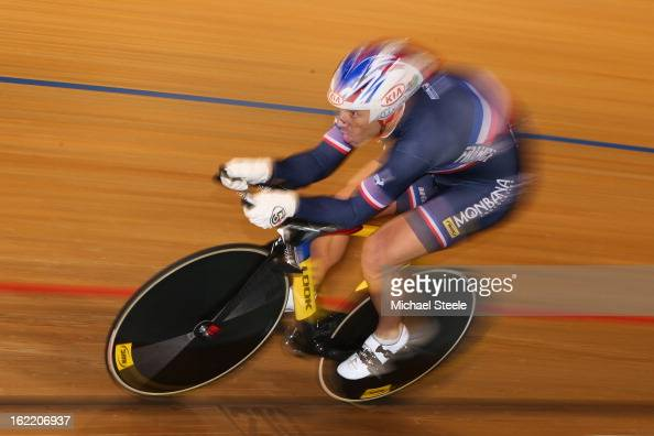 Francois Pervis of France on his way to winning gold in the men's 1km time trial during day one of the UCI Track World Championships at Minsk Arena...