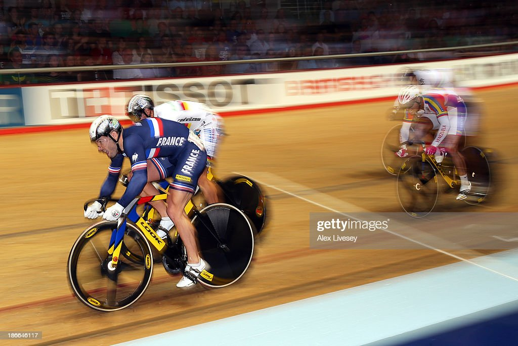 <a gi-track='captionPersonalityLinkClicked' href=/galleries/search?phrase=Francois+Pervis&family=editorial&specificpeople=227088 ng-click='$event.stopPropagation()'>Francois Pervis</a> (L) of France on his way to winning the Men's Keirin Final on day two of the UCI Track Cycling World Cup at Manchester Velodrome on November 2, 2013 in Manchester, England.