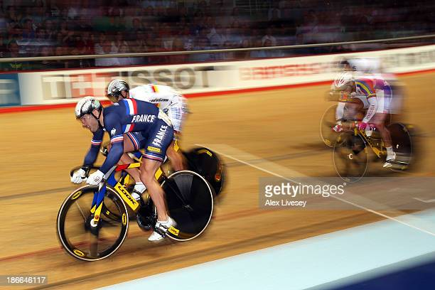 Francois Pervis of France on his way to winning the Men's Keirin Final on day two of the UCI Track Cycling World Cup at Manchester Velodrome on...