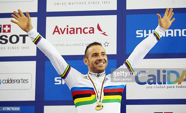 Francois Pervis of France reacts to winning the Men's 1km TT during day three of the 2014 UCI Track Cycling World Championships at the Velodromo...