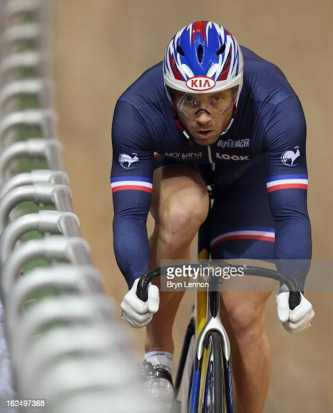 Francois Pervis of France rides during qualifying for the Men's Sprint on day four of the 2013 UCI Track World Championships at the Minsk Arena on...