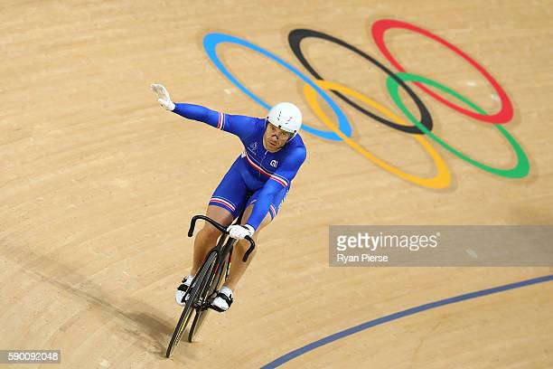 Francois Pervis of France wins heat 3 in the Men's Keirin First Round Repechages on Day 11 of the Rio 2016 Olympic Games at the Rio Olympic Velodrome...