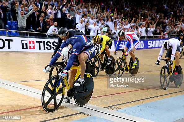 Francois Pervis of France wins the gold in Men's Keirin Final during day two of the UCI Track Cycling World Championships at the National Velodrome...