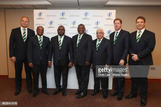 Francois Pienaar Alec Moemi Thulas Nxesi Cyril Ramaphosa Mark Alexander Jurie Roux and John Smit of South Africa during the Rugby World Cup 2023 Bid...