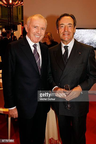 Francois Pinault and Lindsay OwenJones attend the Association 'Dessine l'Espoir' Charity Dinner during Art Paris Exhibition Launch at Grand Palais on...