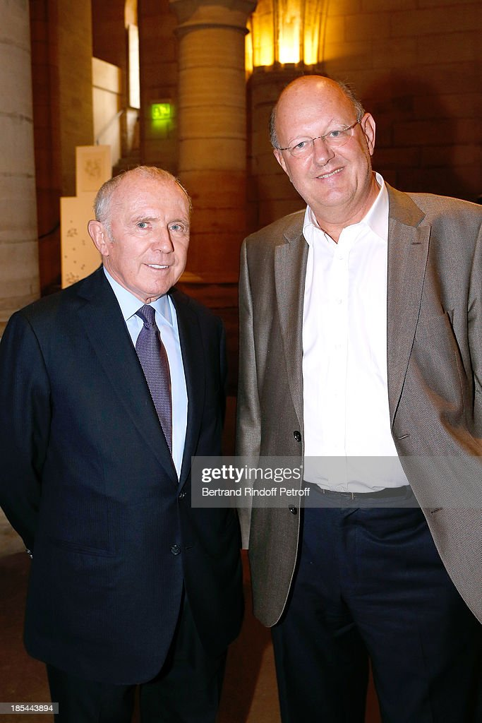 Francois Pinault and president of France Television <a gi-track='captionPersonalityLinkClicked' href=/galleries/search?phrase=Remy+Pflimlin&family=editorial&specificpeople=7083349 ng-click='$event.stopPropagation()'>Remy Pflimlin</a> attend 'A Triple Tour' : Francois Pinault Collection Exhibition opening at the Conciergerie on October 20, 2013 in Paris, France.