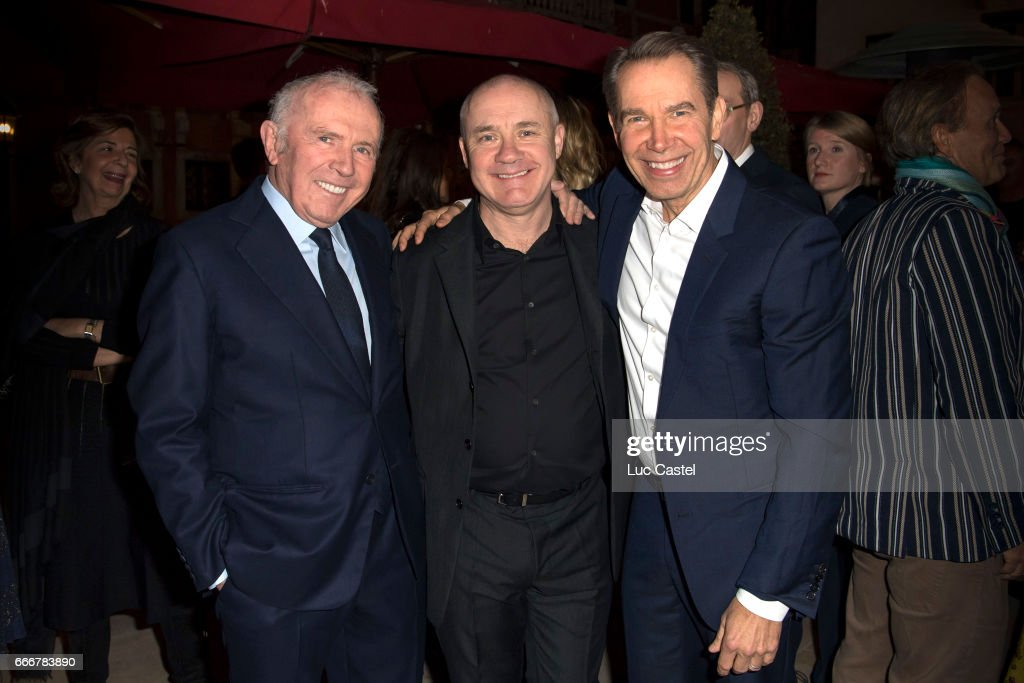 Francois Pinault, Damien Hirst and Jeff Koons attend the opening of Damien Hirst 'Treasures From The Wreck Of The Unbelievable' new exhibition on April 8, 2017 in Venice, Italy.