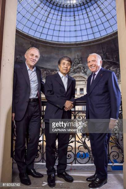 Francois Pinault FrancoisHenri Pinault and the japanese architect Tadao Ando at the Bourse du Commerce for the new collection of Contempory Art 2019...