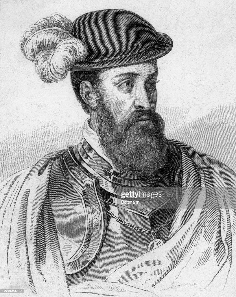 Francois Pizarro (1478-1541), head and shoulder. Engraving.