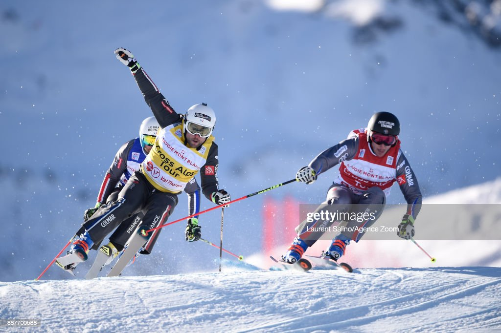 Francois Place of France competes, Arnaud Bovolenta of France takes 2nd place during the FIS Freestyle Ski World Cup, Men's and Women's Ski Cross on December 7, 2017 in Val Thorens, France.
