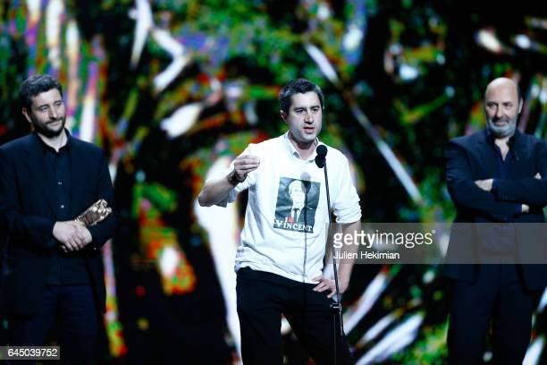 Francois Ruffin speaks onstage after receiving the Cesar of Best Documentary for 'Merci Patron' during the Cesar Film Awards Ceremony at Salle Pleyel...