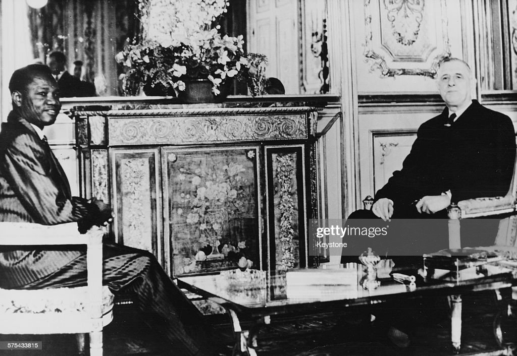 Francois Tombalbaye Head of State of Tohad at a meeting with French President Charles de Gaulle at the Elysee Palace Paris March 15th 1962