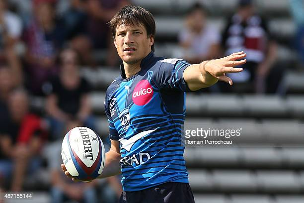 Francois Trinh Duc of Montpellier gestures during the French Rugby League Top 14 between Union Bordeaux Begles and Montpellier on September 6 2015 in...