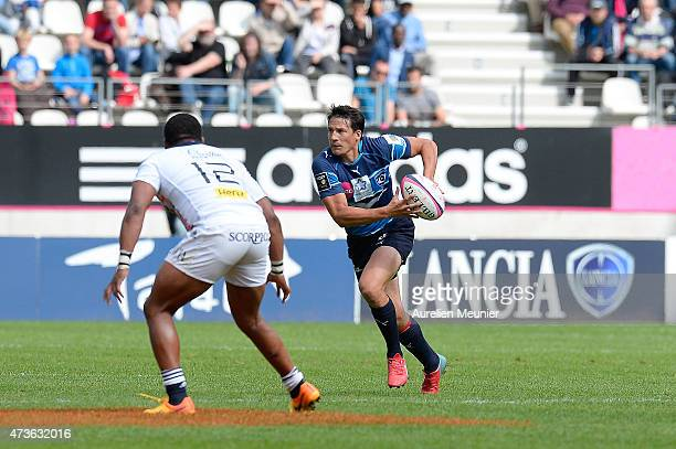 Francois Trinh Duc of Montpellier in action during the Top 14 game between Stade Francais and Montpellier at Stade Jean Bouin on May 16 2015 in Paris...