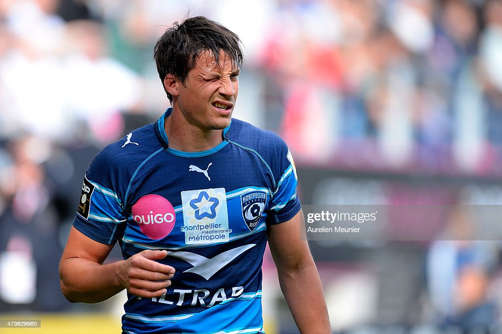 Francois Trinh Duc of Montpellier reacts during the Top 14 game between Stade Francais and Montpellier at Stade Jean Bouin on May 16, 2015 in Paris, France.