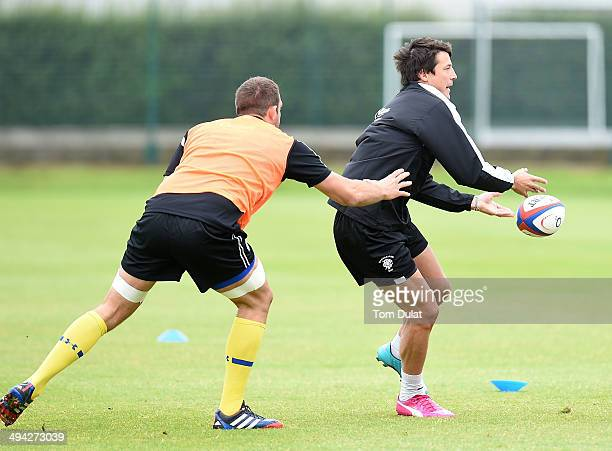 Francois TrinhDuc of Barbarians in action during the Barbarians training session on May 29 2014 in London England