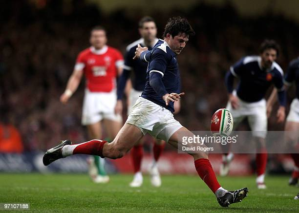 Francois TrinhDuc of France kicks the ball upfieldduring the RBS Six Nations match between Wales and France at the Millennium Stadium on February 26...