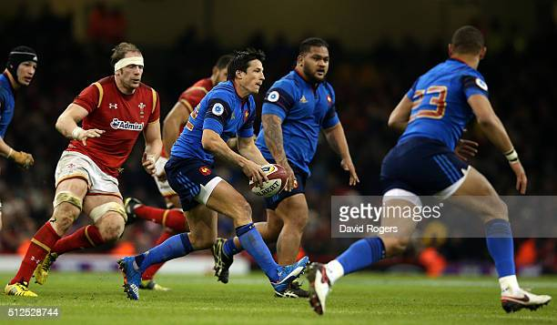 Francois TrinhDuc of France passes the ball during the RBS Six Nations match between Wales and France at the Principality Stadium on February 26 2016...
