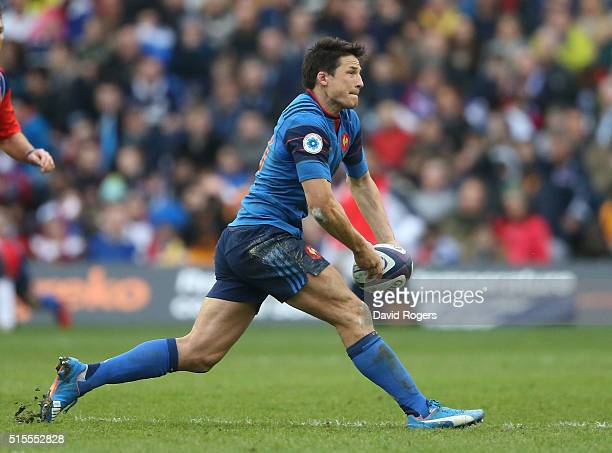 Francois TrinhDuc of France passes the ball during the RBS Six Nations match between Scotland and France at Murrayfield Stadium on March 13 2016 in...