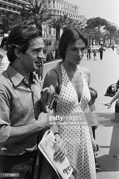 Francois Truffaut and Jacqueline Bisset at Film Festival in CannesFrance in May1973