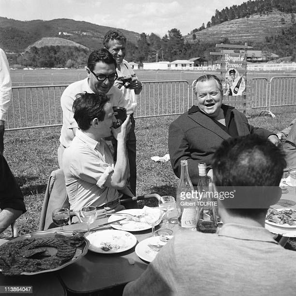 Francois Truffaut and Orson Welles at Cannes Film Festival in 1966 in Cannes France