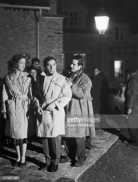 Francois Truffaut Charles Aznavour And Marie Dubois In 1960