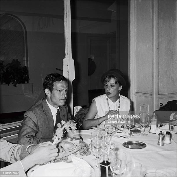Francois Truffaut with Jeanne Moreau during the Cannes Film Festival in 1961