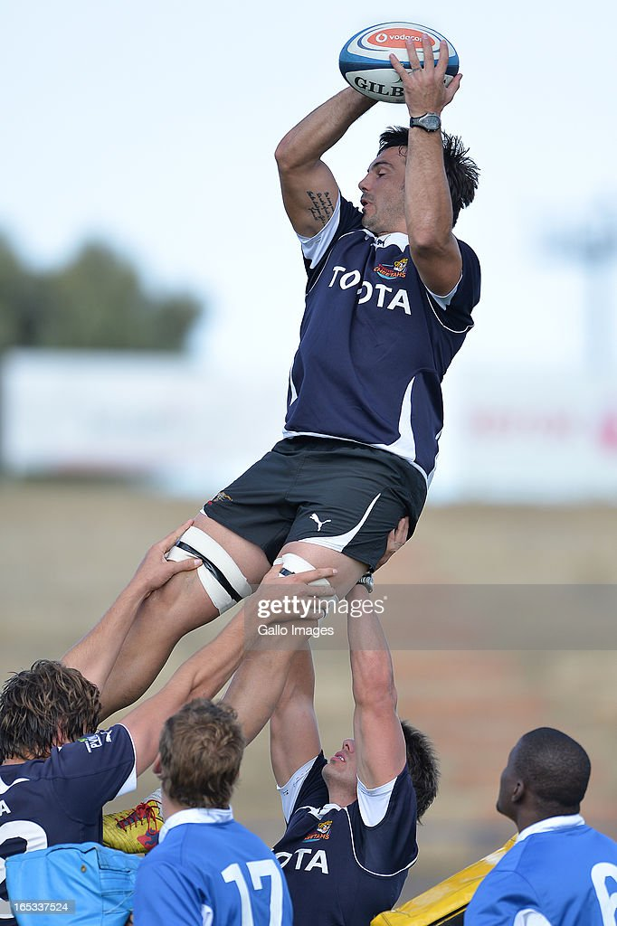 Francois Uys during the Toyota Cheetahs training session at Shimla Park on April 03, 2012 in Bloemfontein, South Africa.