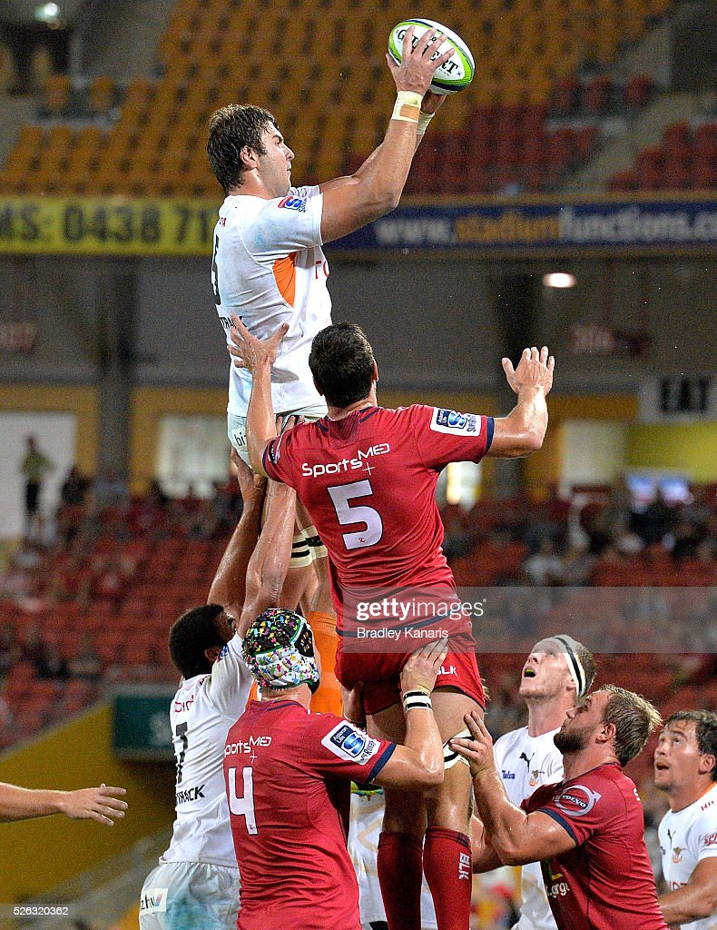 Francois Uys of the Cheetahs competes at the line out during the round 10 Super Rugby match between the Reds and the Cheetahs at Suncorp Stadium on April 30, 2016 in Brisbane, Australia.
