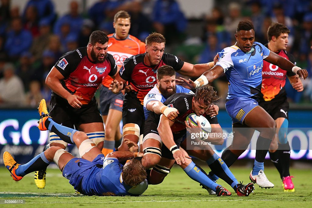 Francois van Wyk of the Force tackles Francois Botha of the Bulls during the round 10 Super Rugby match between the Force and the Bulls at nib Stadium on April 29, 2016 in Perth, Australia.