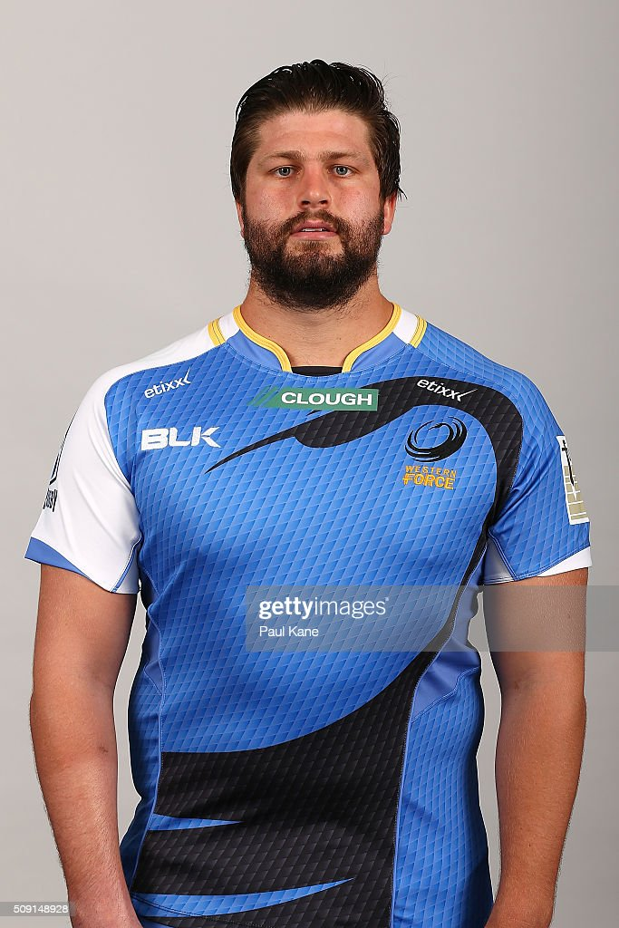 Francois Van Wyk poses during the Western Force 2016 Super Rugby headshots session on February 9, 2016 in Perth, Australia.