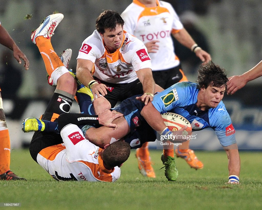 <a gi-track='captionPersonalityLinkClicked' href=/galleries/search?phrase=Francois+Venter&family=editorial&specificpeople=7038937 ng-click='$event.stopPropagation()'>Francois Venter</a> of the Blue Bulls during the Absa Currie Cup match between Toyota Free State Cheetahs and Vodacom Blue Bulls at Free State Stadium on August 17, 2012 in Bloemfontein, South Africa.