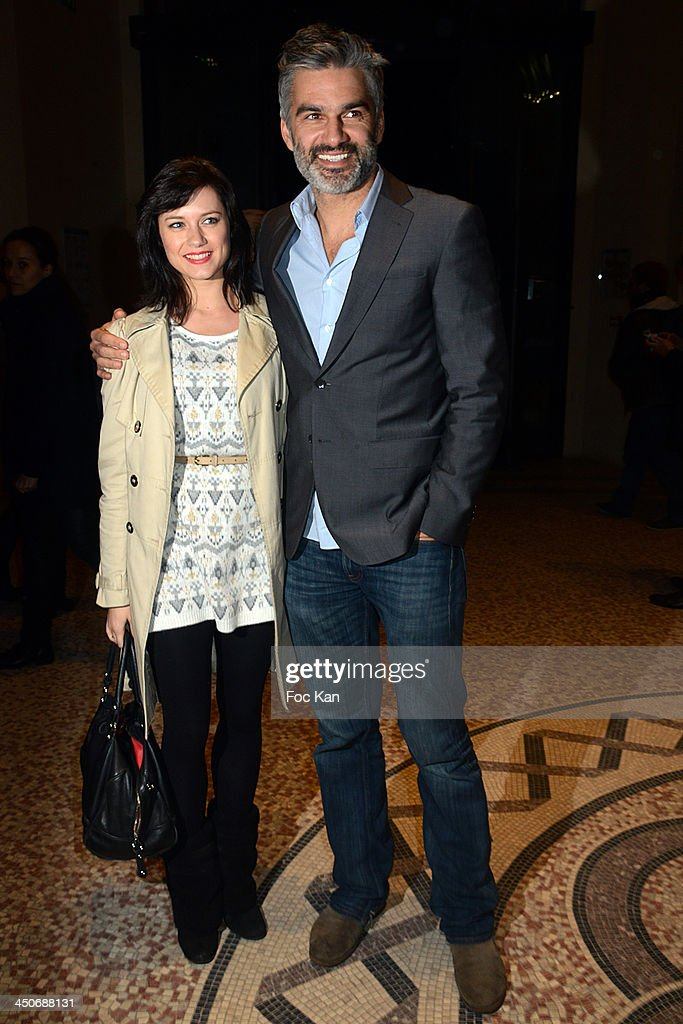 Francois Vincentelli (R) and Alice Dufour attend the Sushi Shop Launches New Menu By Joel Robuchon - Photo Call At Le Mini Palais on November 19, 2013 in Paris, France.