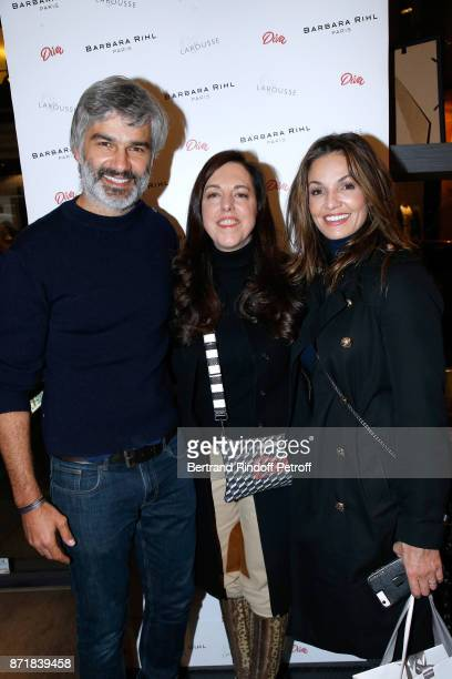 Francois Vincentelli Barbara Rihl and Nadia Fares attend Reem Kherici signs her book 'Diva' at the Barbara Rihl Boutique on November 8 2017 in Paris...
