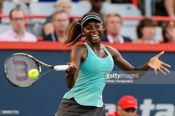 Francoise Abanda of Canada hits a return against Saisai Zheng of China during day two of the Rogers Cup at Uniprix Stadium on July 26 2016 in...