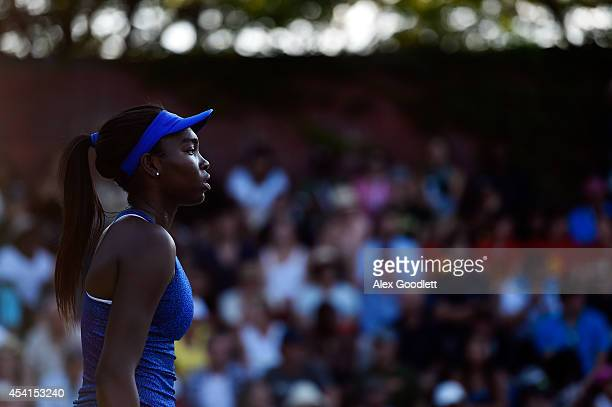 Francoise Abanda of Canada looks on against Sabine Lisicki of Germany during her women's singles first round match on Day One of the 2014 US Open at...