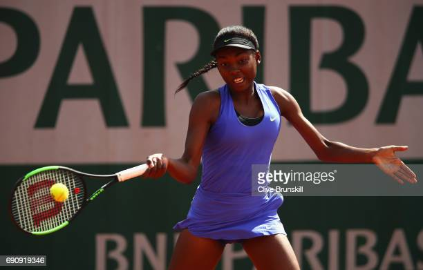 Francoise Abanda of Canada plays a forehand during the ladies singles second round match against Carolina Wozniacki of Denmark on day four of the...